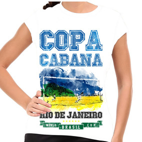 Camiseta Brasil Copa Copacabana Baby Look