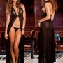 Babydoll Longo Lingerie Sexy Vestido + Tanga Preto Cod1027