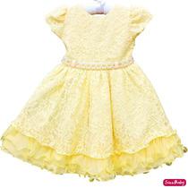 Vestido Infantil Renda Amarelo Princesa Bela Luxo Com Coroa