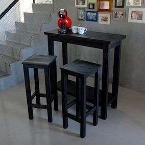 Mesa Desayunador Con Estante Bar + 2 Bancos Altos + Regalo