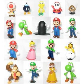 18 Bonecos Turma Super Mario Bros - Luigi - Yoshi