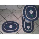 Kit Com 3 Jogos De Banheiro Oval C Flores De Barbante