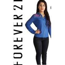 Blusa Forever 21, Bordado De Moda, Azul, Cinto De Regalo.