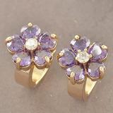Aros Oro Laminado Flor Púrpura