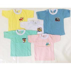 6 Blusas- Algodão C/ Botão Lisa Para Bebês M/curta Ou Longa