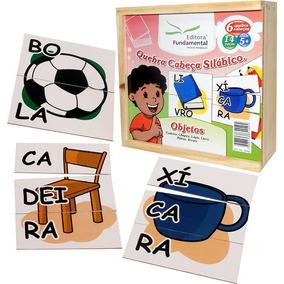 Kit Com 6 Jogos Quebra Cabeça Silábico - Brinquedo Infantil