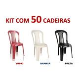 Cadeira Plástica Bistrô Sem Apoio De Braço - Kit Com 50 Pç