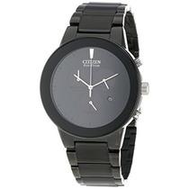 Negro Ion Plateado Reloj Cronógrafo Axioma Hombres Citizen