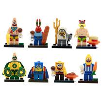 Kit Bob Esponja Coleção Completa 8 Bonecos = Lego