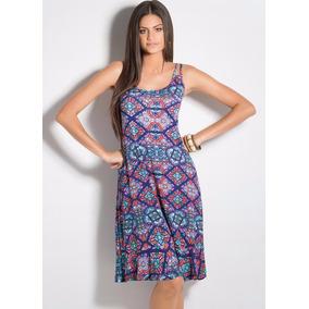Vestido Estampa Vitral Com Alças Duplas