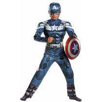 Fantasia Capitão América Infantil Luxo Músculos P M G