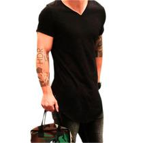 Camiseta Longline Oversized Gola V Camisa Masculina Slim Fit