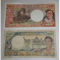 2 Billetes Rep. Francesa Tahiti 500 Y 1.000 Francos *084