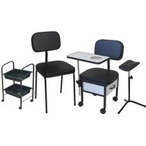Cadeira Para Manicure + Cadeira Cliente + Carrinho + Tripe