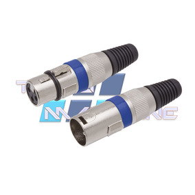 Kit 2 Plugs Xlr Conector Cannon Macho Femea P/ Microfone Dmx