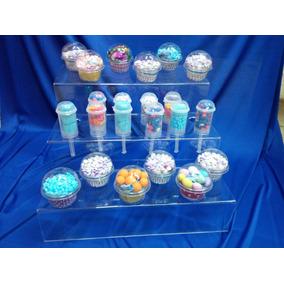 Base Escalera Acrilico 5mm,porta Cupcake-conos Mesa Dulces