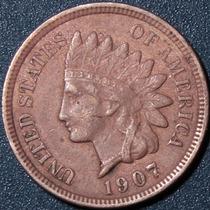 Un Centavo 1907 Eeuu Cabeza Indio Cobre Rara Buen Estado Ipv