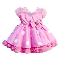Vestido Infantil Festa Minnie Rosa Modelo Novo Com 2 Tiara