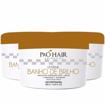 Tratamento Creme Banho De Brilho Pro Hair 3 X Unid. 500gr