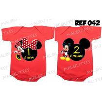 Body Gemeos Mickey Minnie - Macacão Bebe Kit Com 2 Bodies