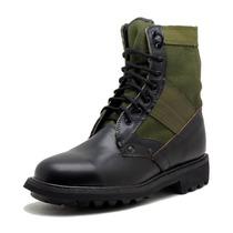 Bota Militar 100% Cuero Y Lona Verde Modelo De Campaña