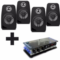 Kit Som Ambiente 4 Caixa Acústica Pretas C/ Receiver Bt