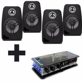 Kit Som Ambiente Amplificador Bluetooth + 4 Caixas Acústicas