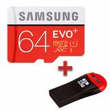 Cartão Micro Sd 64gb Samsung Evo Plus C10 80mb/s Mais Leitor
