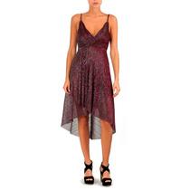 Vestido Lurex Irregular Drapeado Fiesta Mujer Brishka M-0103