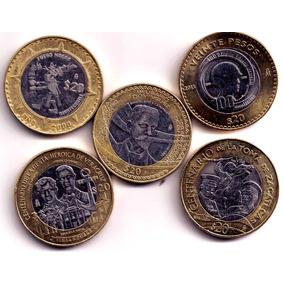 Paquete De 5 Monedas De $20 Conmemorativas Las 5 En $600