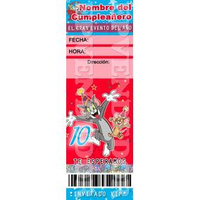 Tarjetas De Invitacion Tom Y Jerry Tipo Entrada - Epvendedor