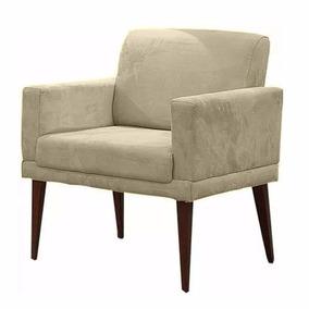 Poltrona Cadeira Decorativa Emília Escritório Bege