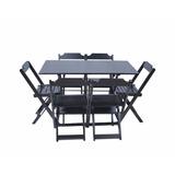 Conjunto De Mesa 120x70 E 6 Cadeiras Dobráveis Em Madeira