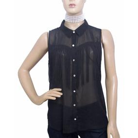 Camisa De Musseline Preta Com Franjas