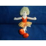 Boneca De Pano Bailarina Usada Com 33cm Altura Roupa Laranja
