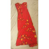 Vestido Vermelho Bordado Em Seda Pura Importado, Flores Impo