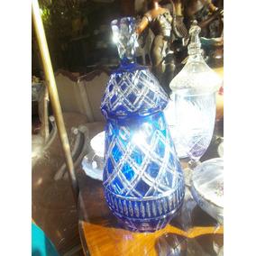 Antigua Caramelera Potich De Cristal Tallado Color Azul