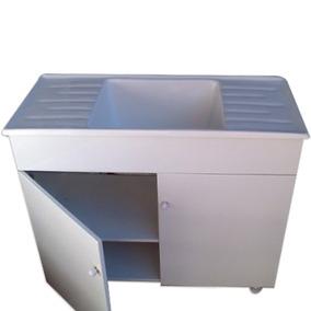 Mueble Lavadero 1mt + Pileta Fibra 2 Mesadas Doble Marmolina