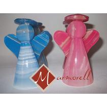 Angelitos De Onix Color Azul Y Rosa, 10 Cm De Altura