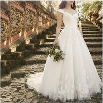 Vestido De Noiva Longo Princesa Rodado Tulê Renda Luxo