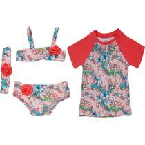 Biquini Bebê Com Faixa + Camiseta Com Proteção Uv 50+