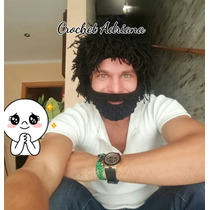 Gorro Con Cabello Y Barba Crochet Tejidos Env Gratis