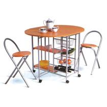 Desayunador + Mesa Cocina Plegable Auxiliar Con 2 Banquetas