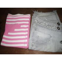 Shorts Jeans Bermuda Blusa Rosa Linha Tamanho 40