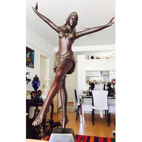 Escultura Bailarina Exotica Art Deco En Petit Bronce