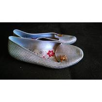 Sapatilha Sapato Feminino 35 Brilho Glitter Prata Com Caveir