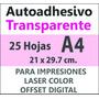 Sticker Autoadhesivo Transparente Impresora Laser A4 X 25