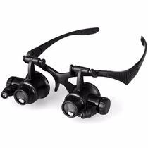 Lupa Oculos De Cabeça 4 Lentes Pro 2 Led Relojoeiro Ourives