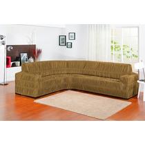 Capa De Sofa Bege De Canto Para Sofá Até 6 Lugares