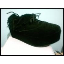 Zapatos Acordonados Con Plataforma De Gamuza Cuero Legítimo